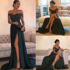 Dark Green Sexy Prom Dresses A Line Chiffon Off-the-Shoulder High Side Split Lace Elegant Long Evening Dress Formal Dress Guest Gown