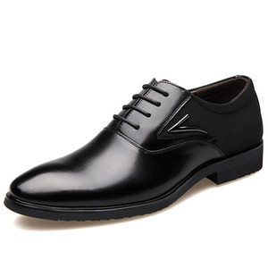 British Men's Pu Leather Business Dress Shoes Black Brown Pointed Toe Lace-up Wedding Party Shoes Fashion Men Flats Oxfords 2.5A