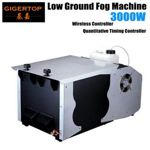 Freeshipping 3000W Basse-Terre Machine à brouillard DMX512 / Télécommande en continu de glace sèche à faible altitude au sol Stade Smoke Machine