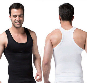Al por mayor-Hombres Slim Body Shaper Belly Fat Stretch Ropa interior elástica chaleco Corsé Compresión