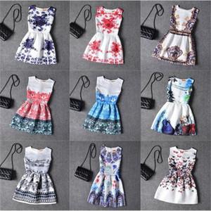 18colors de chicas adolescentes vestidos formales de la nueva flor de la mariposa de impresión sin mangas del vestido del traje holiday muchacha vestido de Pascua