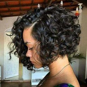 Moda Simülasyon İnsan Saç Peruk güzellik kısa stokta siyah kadınlar için kıvırcık peruk bob
