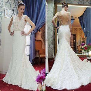 Charming 2017 Ivory Sheer Neck Open Back Lace Mermaid Wedding Dresses Modest Beaded Sash Long Bridal Gowns Custom Made China EN71711