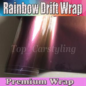 Gloss Rainbow Drift Car Wrap Film con bolle d'aria free / release Cover styling foil Cambiamenti colore adesivi 1.52x20m 45x67ft roll