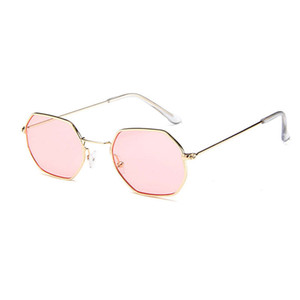 Buona qualità Moda poligono Metal Sunglasse per le donne Party Travel Summer Beach abito popolare occhiali da sole Occhiali da vista di marca all'ingrosso