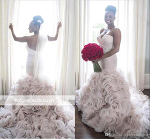 Luxury Sweetheart Mermaid Abiti da sposa 2017 Vintage Sexy Low Back Ruffles Organza Corte dei Treni Abiti Da Sposa Custom Made Abiti Da Sposa