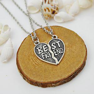 Wholesale-2PC Puzzle Heart Best Friend Pendant Necklace Friendship Collier Women Men Jewelry Friends BFF Gifts Brinco Choker Xmas Party