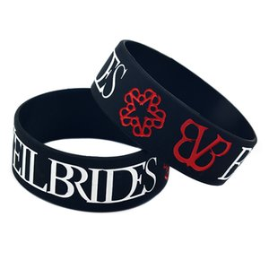 50PCS Black Trendy One Inch Wide Black Veil Brides Rock Band Silicone Bracelet For Music Fans Gift