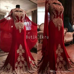 Dentelle De Luxe Rouge Arabe Dubaï Inde Robes De Soirée Chérie Perlée Sirène En Mousseline De Soie Des Robes De Bal Avec Une Robe De Soirée Formelle Cape