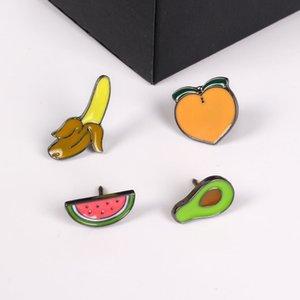 Toptan-moda takı aksesuarları sevimli emaye epoksi mini avokado karpuz şeftali muz broşlar