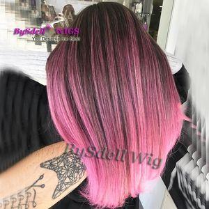 Yeni Mermaid Vurgulamak renk peruk Sentetik Peruk Çevrimiçi Siyah Kökleri Ombre Pembe Saç Rengi Temiz Bang / fringe tarzı peruk Siyah / Beyaz Kadınlar için