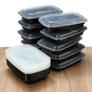 750мл 150pcs / серии пластикового одноразового Bento Lunch Box еда Prep пикник еда Контейнер для хранения Посуды с крышкой Microwavable