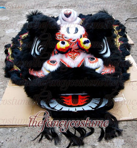 Bambus südlich schwarzer Löwentanz Hohe Qualität Wolle Lion Dance Maskottchen Kostüm aus reiner Wolle Südlöwe Erwachsene Größe Chinesisches Volkskostüm