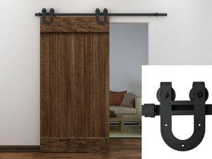 Porte coulissante de grange 5-8FT Heavy duty moderne Horseshoe conception rustique en acier en bois coulissante porte de grange matériel piste kit