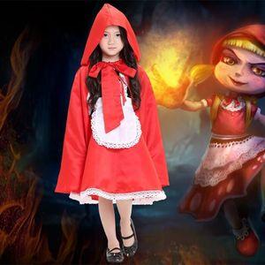 Halloween Child Girls 작은 빨간 승마 후드 아이 공주 드레스 아이 할로윈 의상 드레스 앞치마 코스프레 의상