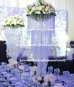 Lusso acrilico Chandelier Crystal Flower Stand Crystal Beaded Wedding Aisle Pillar per matrimoni Decor