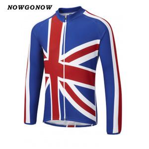 Hommes 2017 cyclisme jersey vélo porter vêtements Royaume-Uni drapeau Royaume-Uni GB Grande-Bretagne été manches longues bleu blanc VTT route NOWGONOW