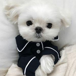 لوازم كلب صغير ملابس الحيوانات الأليفة جرو بيجاما زر أسود أبيض أزرق ملابس زهرية Poodle Bichon Frizy Bulldog Softfeeling Shirts