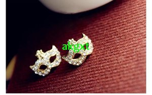 Al por mayor-Coreano Shinny Crystal Flower Mask Ear Stud Masquerade Party Pendientes HotG681