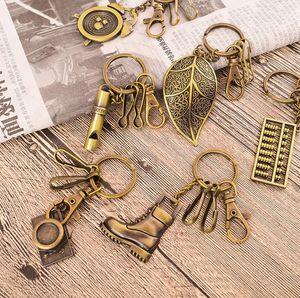 Requintado mini chave de aço inoxidável de bronze anel personalizado chaveiro criativo retro pingente KR031 chaveiros misturar a ordem 20 peças muito