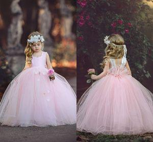 2017 새로운 공주 핑크 민소매 공 가운 Tulle Flower Girl Dresses 귀여운 수제 꽃 레이스 뒤로 Girls 차림새 드레스 결혼식