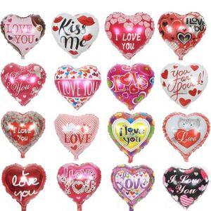 10 قطعة / الوحدة 18 '' أحبك بالونات عيد الحب زينة الزفاف إمدادات حزب شكل قلب الحب بالونات احباط globos