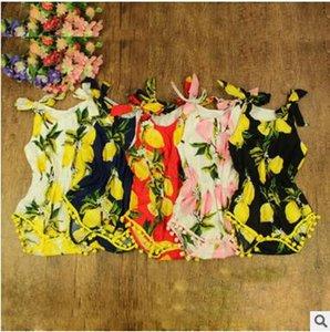 Bébé Lemon Combinaison Filles Floral Ananas Rompers Swan Sans Manches En Coton Imprimé D'été Tenues Robes De Fleurs De Bébé D'habillement Enfants J271