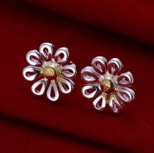 Brand new high quality 925 silver color separation daisy stud earrings free shipping 15pair lot