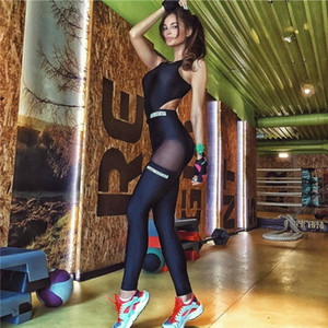 Wholesale- mesh bodysuit women fitness jumpsuit hollow out open back female backless sexy work out workout excise sportwear cut out P1156Y