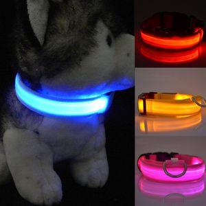 LED Collares de perro mascota ajustable raya intermitente Nylon Night Glow Light Up Correas de entrenamiento Colorido perro suministros