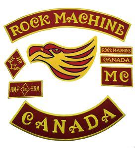 La nueva máquina de rock bordado parche en rojo para el chaleco motero Rock motocicleta MC Club de cuero JACKET Chaleco parche personalizado Rocker disponible