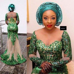 Зеленые спичечные платья выпускного вечера ASO EBI Mermaid Sheer шеи длинные рукава вечерние платья плюс размер саудовской Аравии формальная вечеринка Vestidos