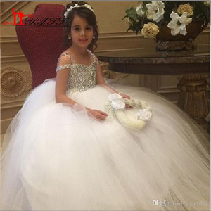 Sparkly Crystals Flower Girls Dresses for Weddings 2016 Glitz Girls Prom Dress Floor Length Tulle Cheap Pageant Dress for Girls