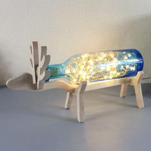 Lámpara de Mesa de Dormitorio de Madera de Elk de madera Creativa Lámparas de Escritorio de Cristal Habitación de los Niños Luces de Escritorio Regalo de Cumpleaños Mejor Regalo