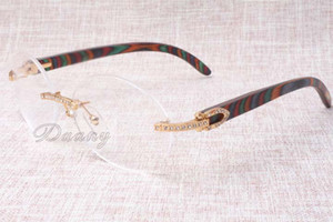 Heat and high quality luxury diamond glasses T8100903 natural peacock color wooden glasses fashion them and our glasses Size: 54-18-135mm