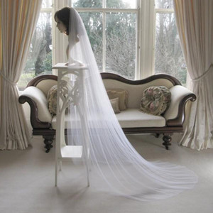Simple Design White Veil Wedding Veils Chapel Length Bridal Hair Accessories Custom Made One Layer Soft Tulle for Brides