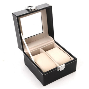 2 Grid Watch Box - Professional Black PU Leather Storage Boxes Collection Holder Organizer Case Wrist Watch Jewelry Display Box