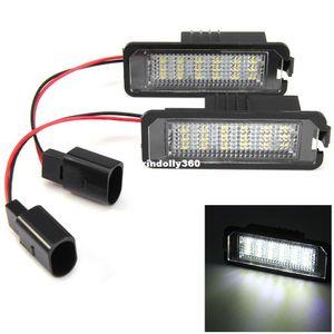 1 par de luces de la placa de la matrícula del coche 12V luces externas que reemplazan la lámpara SMD3528 luz blanca de 18 luces LED para VW Golf 4 Eos 06 2 piezas