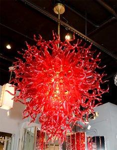 Modern Red LED Murano y Borosilicate Glass Chandelier Light Alta calidad de vidrio soplado Chandelier Lamps Hotel decoración iluminación