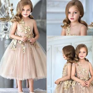 2017 ragazze di fiore abiti per matrimoni oro tulle appliques tè lunghezza una linea ragazze pageant abiti chiusura lampo posteriore personalizzato bambini vestito da partito