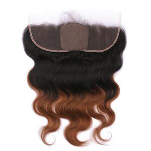 Dark Root 1B / 30 Medium Auburn Ombre Virgin человеческих волос Silk Base 13x4 Lace Фронтальная Закрытие Объемная волна шелковом полный шнурок Frontals