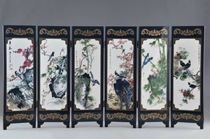 Art Classical Chinese Lacquer Handwork Painting Bird Auspicious Screen Decor