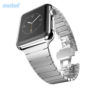 Para iWatch 42/44 mm Correa de acero inoxidable para Apple Watch Band 38/40 mm Enlace Pulsera de metal hebilla de mariposa Correa de reloj para iwatch 4/2/2/1
