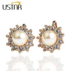 USTAR Orecchini con cristalli per zirconia orecchini per donna rosa Colore oro imitato Orecchini di pera Gioielli moda orecchio polsino Bijoux