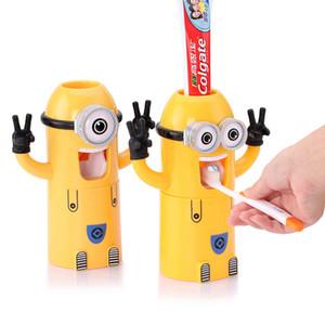 Produtos de Casa de Banho Bonito Projeto Conjunto Dos Desenhos Animados amarelo Minions Toothbrush Titular Creme De Dentes Automático Dispenser titular Pasta de Dentes