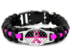 wholesale 300pcs new 7 styles Pink Breast Cancer Fighter Hope Ribbon Awareness Paracord Bracelets Blue Yellow Black Outdoor Camping