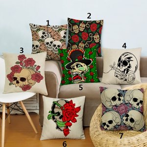 Sugar skulls decorative pillow creative furnishing cushion with double sides printing linen cotton pillow case 17.7x17.7inch