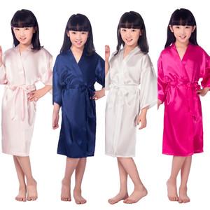Niños Robe Satén Niños Kimono Robas Dama de honor Regalo Flower Muchacha Dress Silk Bathrobe Nightgown Niños Albornoz 6 Tamaños LC483