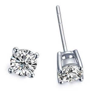 2 карат/пара Оптовая Стад серьги для женщин 4 Зубец покрытием платины обручальное годовщины Сона синтетический алмаз серьги Стад