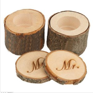 Wholesale- 2pcs Mr & Mrs His & Her Vintage Shabby Chic Rustic Wedding Ring Pillow Bearer Holder Box Wood Photo Props for wedding decorati